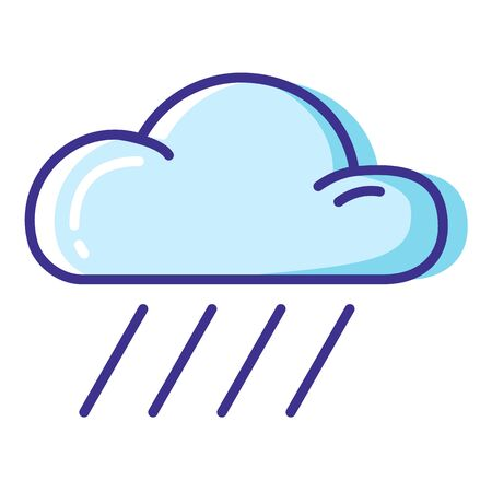 Simple weather icon - outline filled colorful - forecast sing with blue cloud and rain, drops of water - vector isolated symbol on white background.