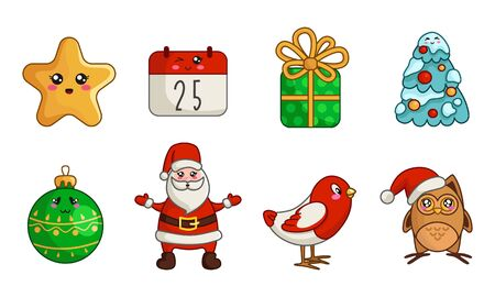 Kawaii Christmas characters and things - set of new year decorations, cute owl, bird, Santa Claus, calendar, gift box, Christmas tree with snow and balls - isolated objects on white, vector
