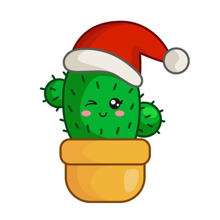 Kawaii Christmas little cactus in santas hat in flower pot, cute emoji face character, new year exotic tropical decoration - isolated colored illustration for kids print or card, vector