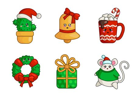 Kawaii Christmas characters and objects - set of cute cactus, gold bell, gift box, fat mouse, cup of hot drink, wreath, New year decorations - isolated colored icons on white, vector Stock Illustratie