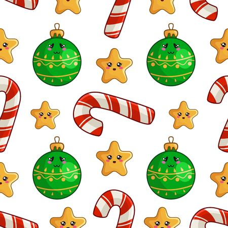 Christmas seamless pattern with candy cane or sweet lollipop, christmas decorative balls and stars, endless texture for print, textile, scrapbook or wrapping paper, new year background - vector