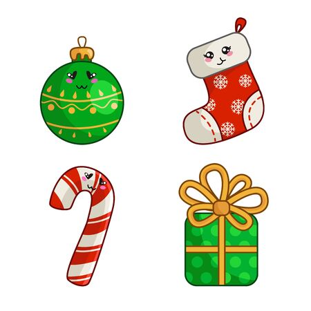 Kawaii Christmas characters, set for new year decoration, cute objects - sock, stocking, gift box with bow, sweet candy cane, ball for christmas tree - isolated objects on white, vector