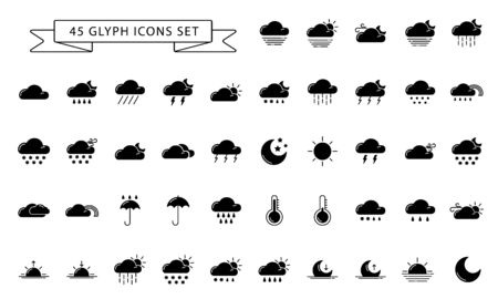Set of simple glyph icons - weather or forecast sings with black and white silhouettes clouds, snow, rain, fog, wind, sun and moon - vector symbols.