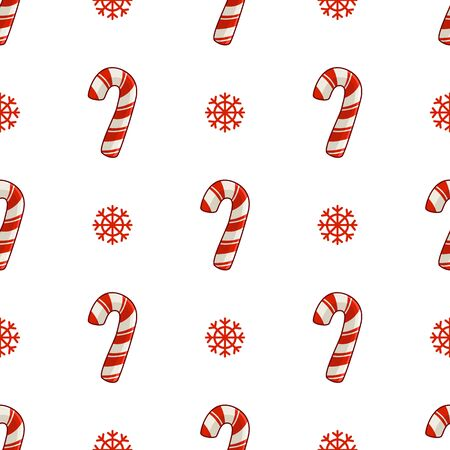 Christmas seamless pattern with candy cane or sweet lollipop and snowflakes, endless texture for print, textile, scrapbook or wrapping paper, cute new year decoration - vector Stock Illustratie