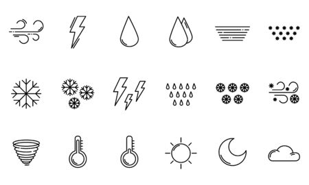 Set of simple outline icons - weather or forecast sings with clouds, snow, rain, fog, wind, sun and moon - vector isolated symbols collection. 向量圖像