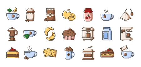 Set of simple outline filled icons - coffee and tea, coffee brewing equipment, cup or mug with hot drinks and desserts for breakfast, isolated colorful vector symbols on white background for web, app