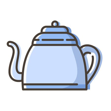 Simple outline color filled icon - kettle or teapot with hot energetic drink or beverage for breakfast, tea party, kitchenware, isolated vector symbol, pictogram  for web, app  イラスト・ベクター素材