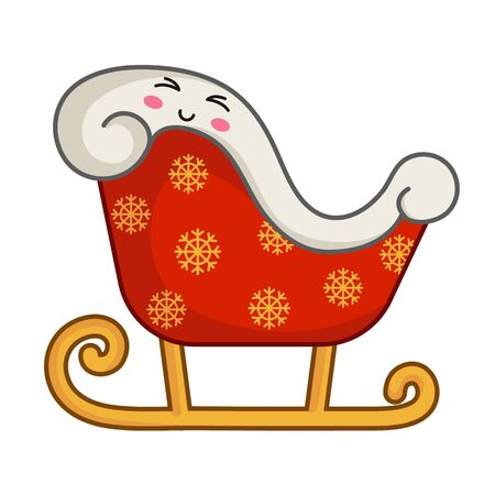 Kawaii Christmas sleigh of Santa Claus, cute emoji face character, new year tradition new year and xmas symbol, Santas magic transport - isolated colored illustration on white, vector icon
