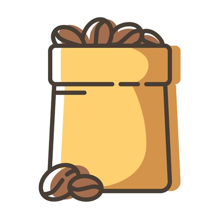 Simple outline filled icon - coffee beans in bag or pack for drinks for breakfast, isolated colorful vector symbol on white background for web or app