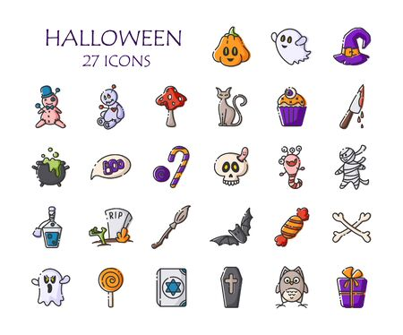 Halloween icon set - isolated vector outline colored signs on white, scary creepy characters, objects - pumpkin, ghost, monster, broom, bat, candy, skull, voodoo doll, traditional holiday symbols