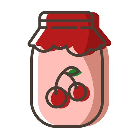 Simple outline filled icon - jar with cherry jam or confiture as dessert for breakfast, sweet food for tea party, isolated colorful vector symbol on white background. Stock Illustratie