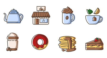 Set of simple outline icons - tea and coffee party, hot drinks, beverages  and desserts for breakfast, cafe or coffe bar, isolated vector symbol for web, app