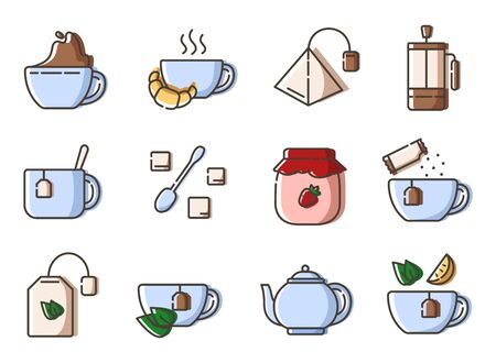 Set of simple outline icons with tea party stuff - tea making equipment, cups, kettle, tea bag, french press hot drinks and desserts for breakfast, line isolated vector symbols