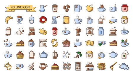 Ensemble d'icônes de couleur de contour simples - boissons au thé et au café, équipement de préparation de café, ustensiles de cuisine, boissons énergétiques chaudes, desserts ou aliments sucrés pour le petit-déjeuner, symboles vectoriels isolés pour le web et l'application Vecteurs
