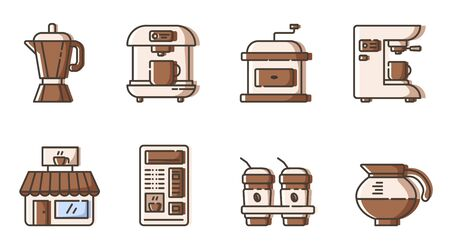 Set of simple outline icons - coffee making electronic equipment, coffee maker and mashine, automate, cafe or restaurant pictogram, hot drinks or beverages  for breakfast, isolated vector symbol for w