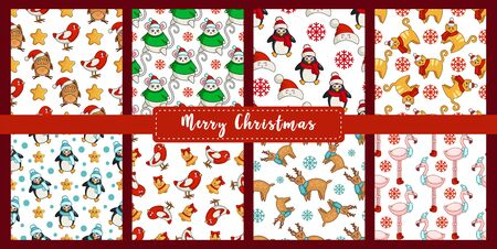 Christmas seamless pattern set with new year kawaii animals, birds - bullfinch, owl, reindeer, flamingo, mouse, rat, cat, penguin. Texture or background for textile, scrapbook, wrapping paper - vector Illusztráció