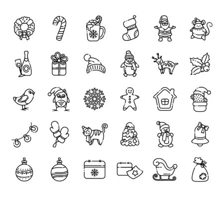 Kawaii Christmas outline icons - big set of new year winter characters and decorations - Santa Claus, calendar, gift box, Christmas tree, gingerbread, wreath, holly, reindeer, sleigh - isolated on white, vector