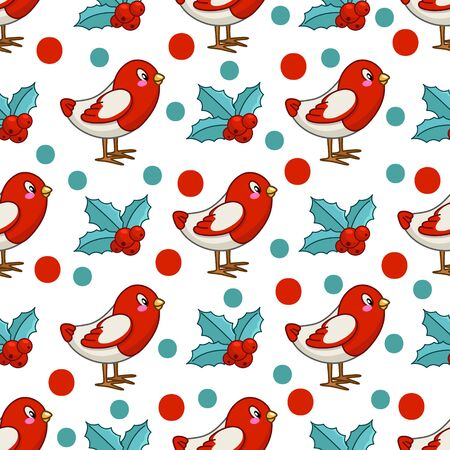 Christmas seamless pattern with kawaii little bird bullfinch and holly plant, endless texture for print, textile, scrapbook, wrapping paper, new year polka dot background - vector