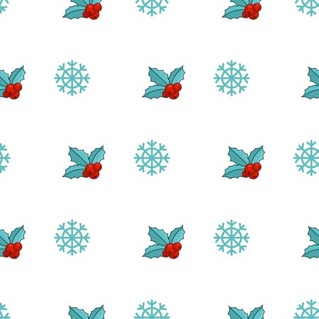 Christmas seamless pattern with cute winter plant - holly, snowflakes, cartoon objects in abstract pattern, endless texture for textile, scrapbook or wrapping paper, new year decoration - vector
