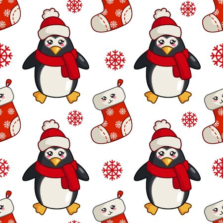 Christmas seamless pattern with kawaii cute penguin, snowflake,  sock, cartoon character in santa hat and scarf, endless texture for textile, scrapbook or wrapping paper, new year decoration - vector