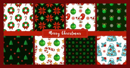 Christmas seamless pattern set with new year characters, objects - bullfinch, tree, candy cane, holly, ball, floral firry wreath. Texture or background for textile, scrapbook, wrapping paper - vector Stock Illustratie
