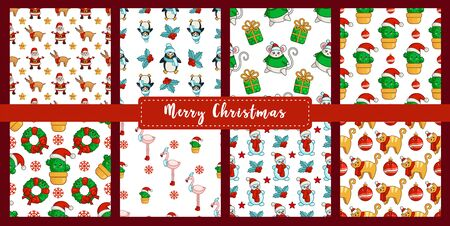 Christmas seamless patterns - kawaii snowman, cactus, cat, mouse, flamingo, penguin, santa claus, reindeer. new year characters. Texture or background for textile, scrapbook, wrapping paper - vector