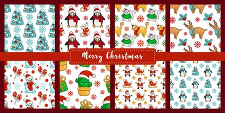 Christmas seamless pattern - kawaii snowman, cat, mouse or rat, pine tree, cactus, santa claus, penguin, reindeer. New year texture or background for textile, scrapbook, wrapping paper - vector