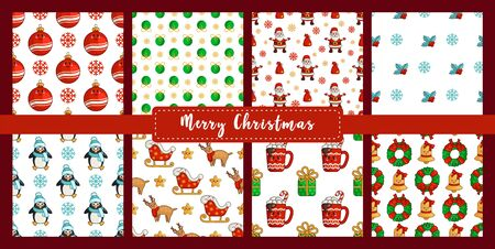 Christmas seamless pattern set, new year kawaii penguin, reindeer rudolf, santa claus sleigh, ball, hot drink cup, wreath, bell. Texture or background for textile, scrapbook, wrapping paper - vector Stockfoto - 133287236