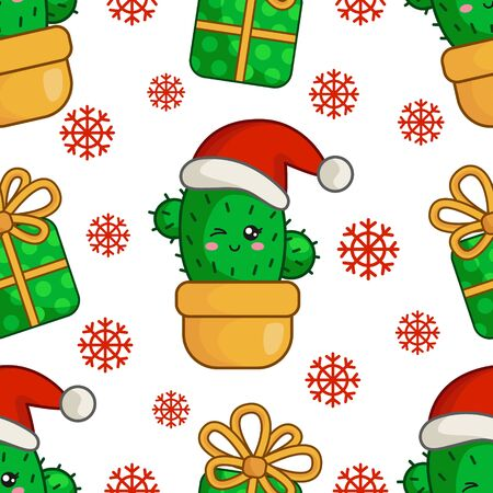 Christmas seamless pattern with kawaii smiling cactus or succulent in santa hat, gift box, snowflakes. Endless texture for textile, scrapbook or wrapping paper, cute new year decoration - vector