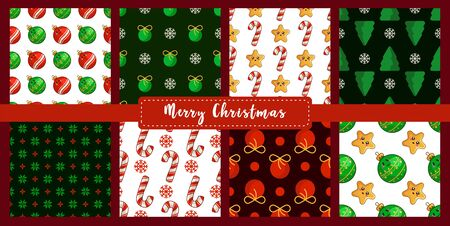 Christmas seamless pattern set with new year decorations - candy cane, snowflake, ball, stars, abstract geometric shapes. Texture or background for textile, scrapbook, wrapping paper - vector
