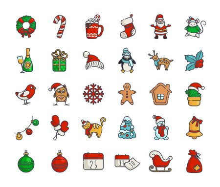 Kawaii Christmas icons - big set of new year winter outline filled signs, symbols - Santa Claus, calendar, gift box, Christmas tree, gingerbread, wreath, holly, reindeer, sleigh - isolated on white, vector