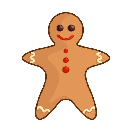 Kawaii Christmas gingerbread man - traditional sweet food, bakery, cookie, cute emoji face character, new year dessert - isolated colored illustration on white, vector icon