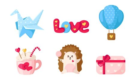 Valentine Day cartoon set - cute flat cartoon objects and characters, origami crane, word love, hedgehog, hot coffee mug, hot air balloon, gift box - isolated vector icons on white