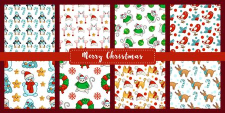 Christmas seamless pattern set new year characters - kawaii snowman, bullfinch, mouse, flamingo, penguin, reindeer, candy cane. Texture or background for textile, scrapbook, wrapping paper - vector Stockfoto - 133287240