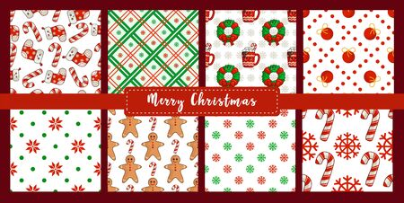 Christmas seamless pattern set, new year candy cane, snowflake, ball, socks,  gingerbread man, abstract geometric shapes. Texture or background for textile, scrapbook, wrapping paper - vector Stock Illustratie
