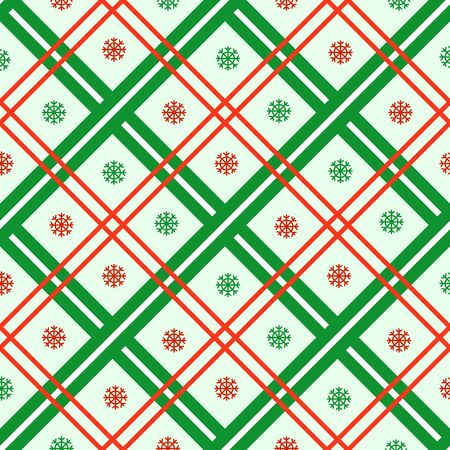 Christmas seamless pattern with abstract geometric ornament in greeen red colors, strips and snowflakes background. Texture for textile, scrapbook or wrapping paper, new year decoration - vector