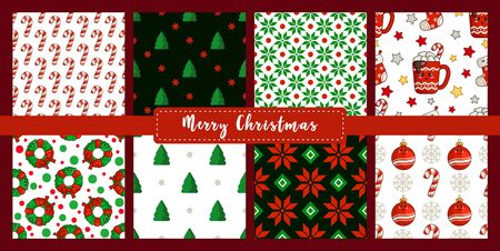 Christmas seamless pattern set with new year characters - kawaii cup, wreath, candy cane, christmas tree and abstract geometric shapes. Texture or background for textile, scrapbook, wrapping - vector