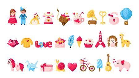 Valentinstag-Cartoon-Set - süße flache Zeichentrickfiguren - kawaii Mädchen und Junge in Retro-Kleidung, Einhorn, Corgi-Welpe, Heißluftballon, Umschlag, Kristallherz, Igel, rosa Fahrrad - isolierter Vektor