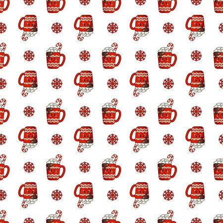 Christmas seamless pattern with cup of hot winter beverage or drink with marshmallows, candy cane, endless texture for textile, scrapbook or wrapping paper, cute new year vector pattern Stockfoto - 133287244