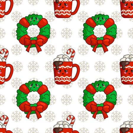 Christmas seamless pattern with cup of hot winter beverage or drink and marshmallows and floral firry wreath, endless texture for textile, scrapbook or wrapping paper, cute new year vector pattern