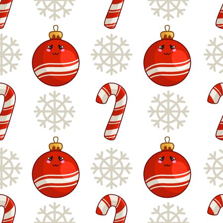 Christmas seamless pattern with candy cane or sweet lollipop, christmas decorative balls and snowflake, endless texture for print, textile, scrapbook or wrapping paper, new year background - vector