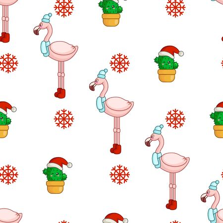 Christmas seamless pattern with kawaii tropical bird - pink flamingo, snowflakes and cactus or succulent in santa hat, texture for textile, scrapbook, wrapping paper, new year background - vector