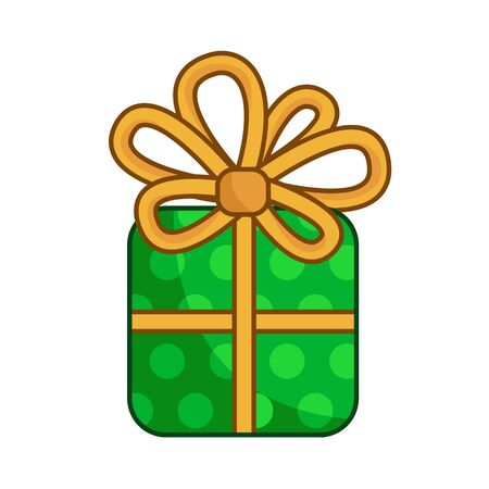 Kawaii Christmas green gift box with golden ribbon and bow, cute cartoon new year object, tradition decoration - isolated colored illustration on white, vector icon Illustration