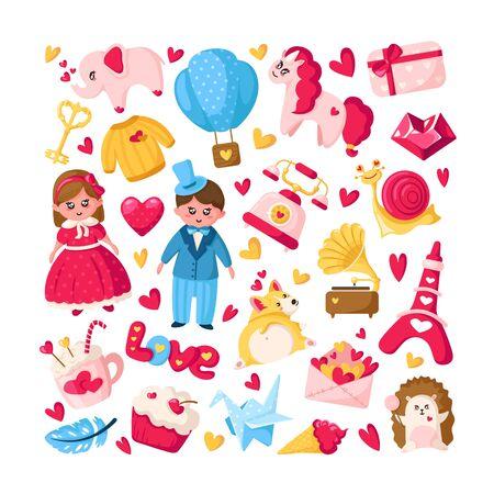 Ensemble de dessins animés pour la Saint-Valentin - personnages de dessins animés plats mignons - kawaii fille et garçon en vêtements rétro, licorne, chiot corgi, montgolfière, enveloppe, coeur de cristal, hérisson, lettres - vecteur isolé