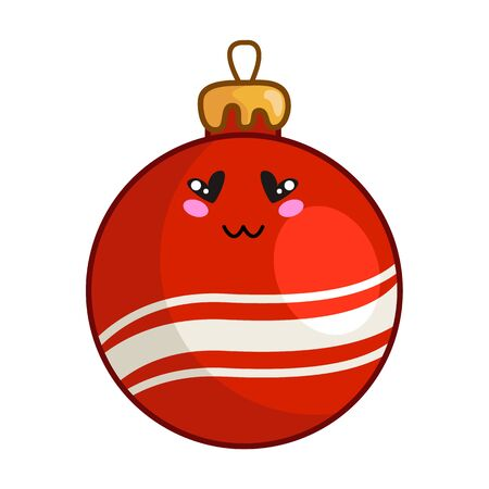 Kawaii Christmas red toy ball for christmas tree decorating, cute emoji face character, new year tradition decoration for home - isolated colored illustration on white, vector icon