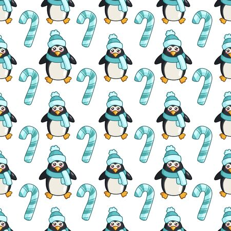 Christmas seamless pattern with kawaii cute penguin or polar bird, candy cane, cartoon character in hat and scarf, texture for textile, scrapbook, wrapping paper, cute new year decoration - vector