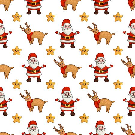 Christmas seamless pattern with kawaii reindeer in red scarf, cute stars and santa claus or noel. Cute winter animal. Texture for textile, scrapbook or wrapping paper, new year decoration - vector Stock Illustratie
