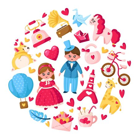 Valentine Day cartoon set - cute flat cartoon characters - kawaii girl and boy in retro clothes, unicorn, corgi puppy, corgi puppy, envelope, crystal heart, eiffel tower, pink bike - isolated vector Stockfoto - 133287305