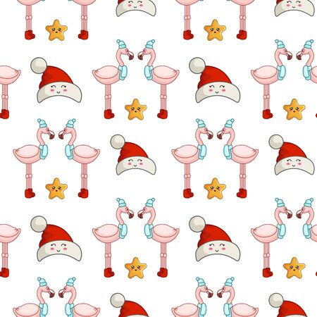 Christmas seamless pattern with kawaii tropical bird - pink flamingo in hat, scarf and boots and stars. endless texture for print, textile, scrapbook, wrapping paper, new year background - vector