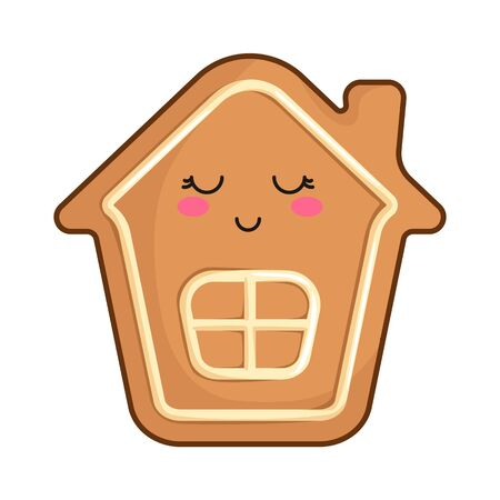 Kawaii Christmas gingerbread house - traditional sweet food, bakery, cookie, cute emoji face character, new year dessert - isolated colored illustration on white, vector icon Stock Illustratie